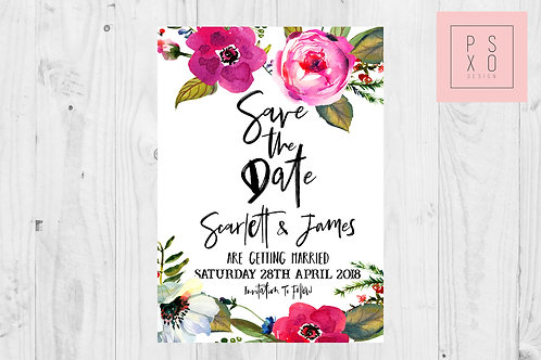 Bright Pinks Oversized Floral Save The Date Magnet