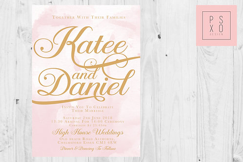 Blush Watercolour Background Calligraphy Themed Wedding Invites