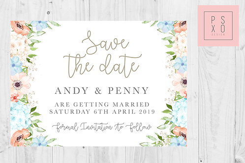Penny | Peach & Dusty Blue Save The Date Magnet