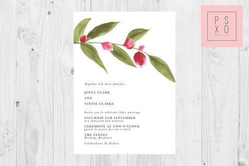 Simple Berry & Foliage Branch Wedding Invite