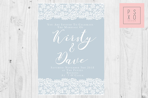 Pastel And Lace Themed Wedding Invite