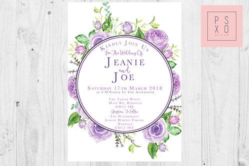 Beautiful Lavender / Lilac Floral Wreath Wedding Invites