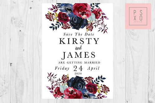 Kirsty Navy & Burgundy Wild Flower Save The Date Magnet
