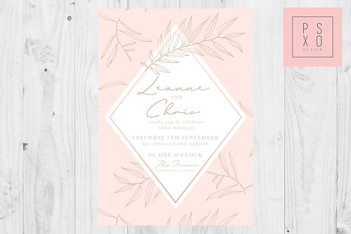 Romantic Leaves Collection Blush & Gold Wedding Invites
