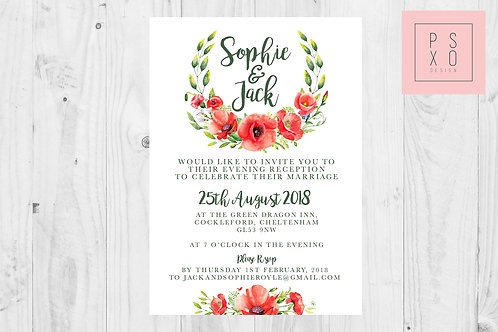 Sophie Poppy Wreath Wedding Invite