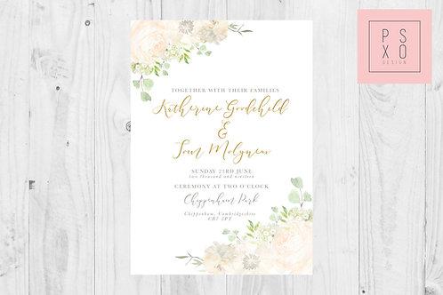 Katherine - Peach & Gold Floral Wedding Invites
