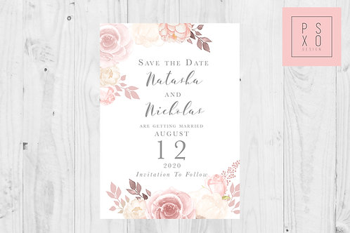 Chelsea Pink Blush Floral Save The Date Magnet