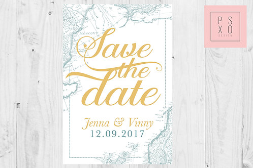 Vintage Map/Atlas Themed Save The Date Magnets