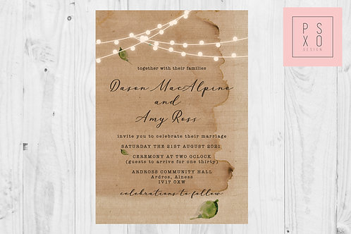 Rustic Fairy Light Invite