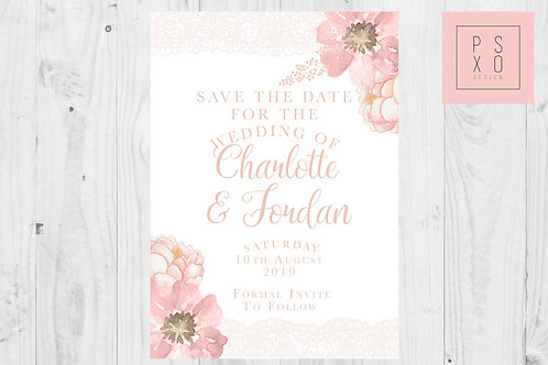 Gabriella Range - Blush & White Lace Floral Save The Date Magnets