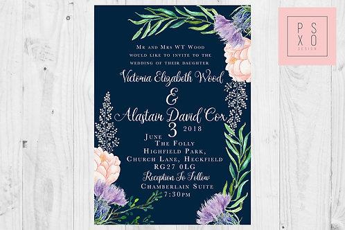 Navy & Wildflower Themed Wedding Invites