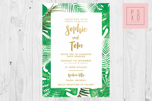 Tropical Palm Theme Invites