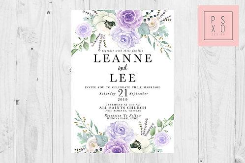 Lilac Leanne Botanical Wedding Invite