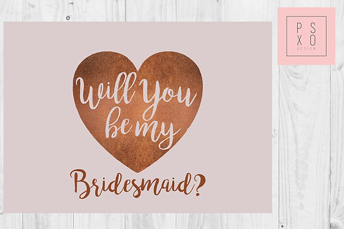 Blush & Copper Will You Be My Bridesmaid Card