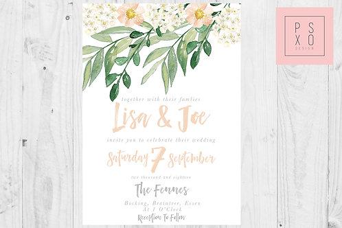 Foliage & Dainty Peach Floral Invites