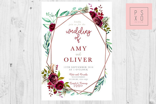 Amy - Burgundy Marie Floral Geometric Invite Set