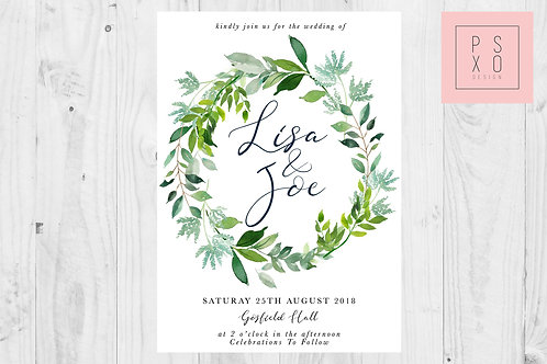 Foliage Wreath Botanical Wedding Invite