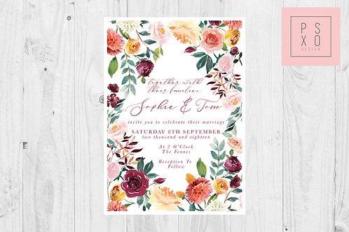 Bright Summer Inverted Diamond Wedding Invite