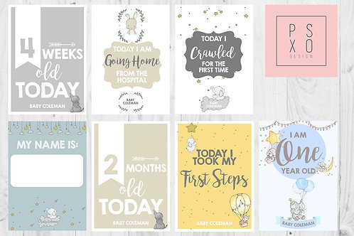 Beautiful Elephant Unisex Baby Milestone Cards