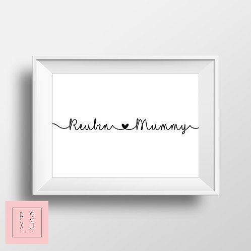 Personalised Loves Mummy Print