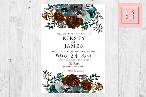 Kirsty Autumn Burnt Orange & Teal Wedding Invites