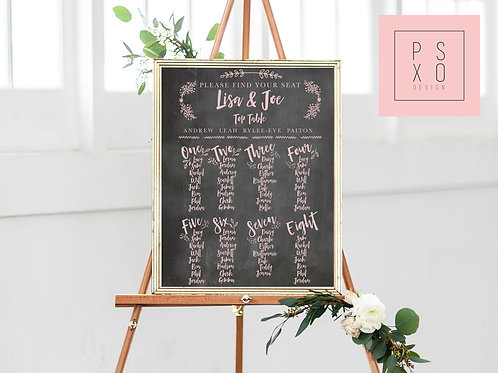 Sam - Calligraphy Blush Themed Chalkboard Table Plan