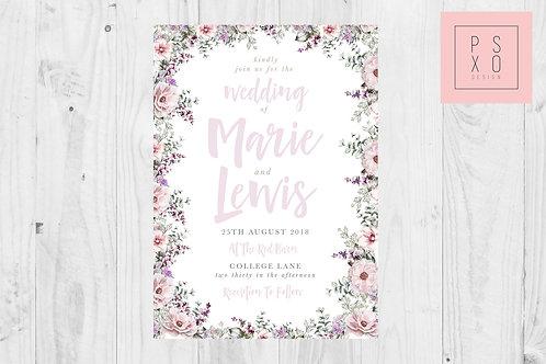 Purple And Blush Wildflower Wedding Invites