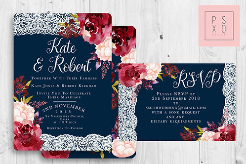 Beautiful Burgundy Navy And Blush Floral Themed Wedding Invites With Lace Effect