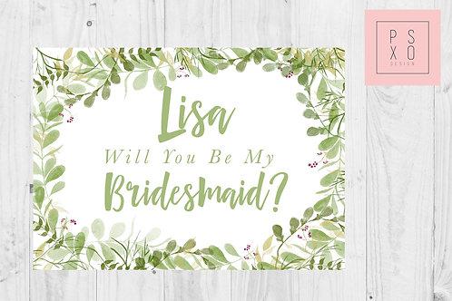Green Foliage Themed Bridesmaid Proposal Card