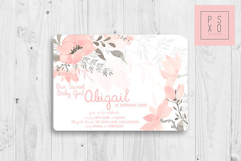 Sweet Floral Watercolour Invite