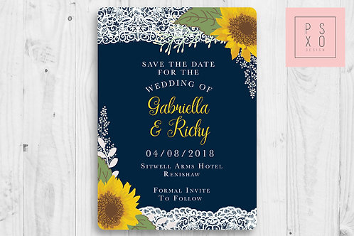 Navy And Sunflower Theme Save The Date Magnets