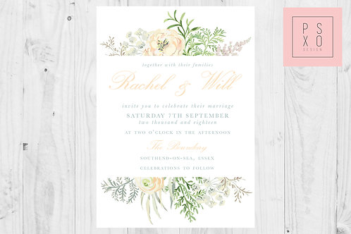 Top & Bottom Peach Fern Wedding Invite