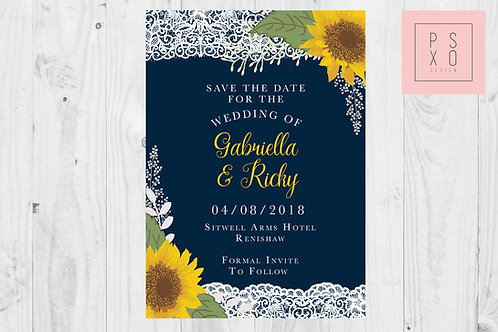 Navy & Yellow Sunflower Themed Rustic Wedding Invites With Lace Effect