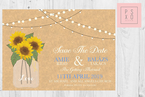 Rustic Sunflower Mason Jar Themed Save The Date Magnets