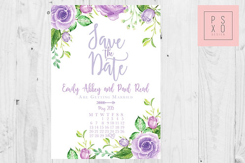 Cute Lavender Lilac Floral Calendar Themed Save The DateMagnets
