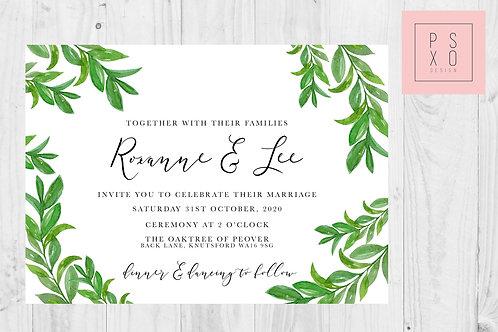 Roxanne - Foliage Horizontal Wedding Invite