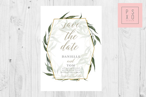 Gold & Foliage Geometric Save The Date Magnet