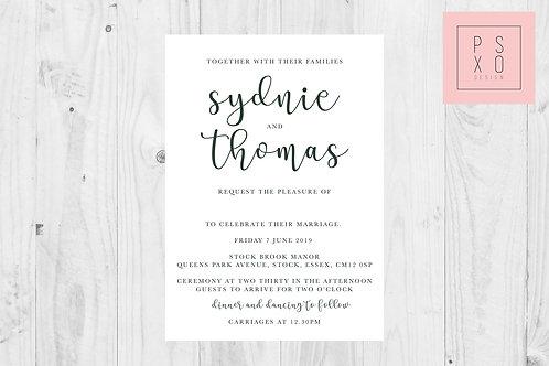 Sydnie - Calligraph & Serif Wedding Invites