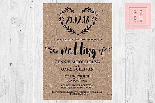Rustic Hand Drawn Heart Kraft Background Themed Wedding Invites