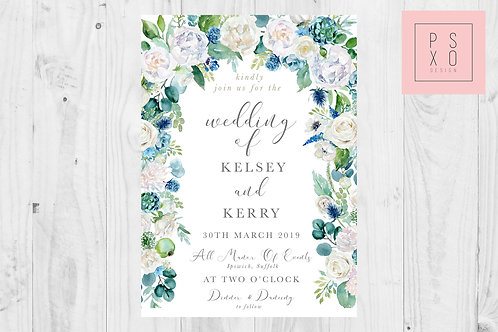 Blue Hydrangea Cascade Wedding Invite Set