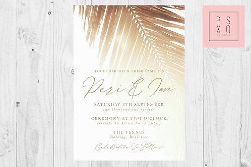 Destination Gold Palm Wedding Invite