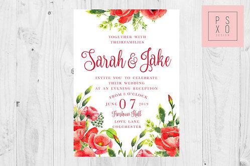 Sarah Poppy Wedding Invite