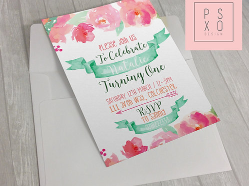 Lovely Mint And Coral Floral Invite
