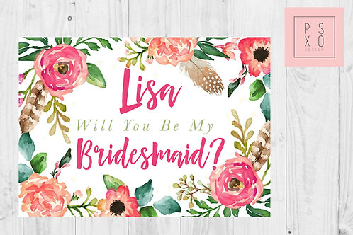 Bright Floral Themed Bridesmaid Proposal Card