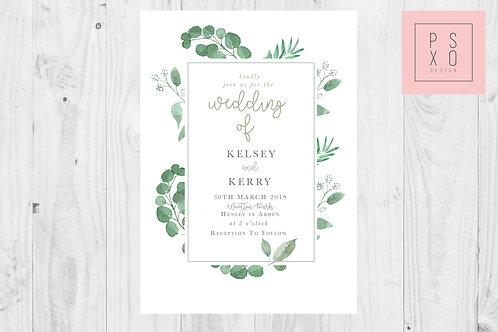 Kelsey Eucalyptus Botanical Wedding Invite