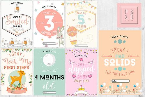 Beautiful Baby Girl Mixed Set Milestone Cards (Olivia Set)