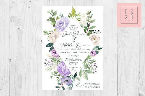 Lilac Zoe Diamond Design Wedding Invite