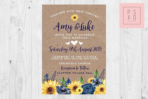 Rustic Sophie - Navy & Sunflower Themed Wedding Invite