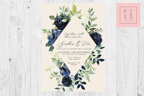 Sophie Navy & Foliage Diamond Wedding Invite
