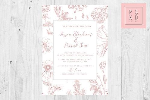 Karen- Beautiful Dainty Floral Border Wedding Invite